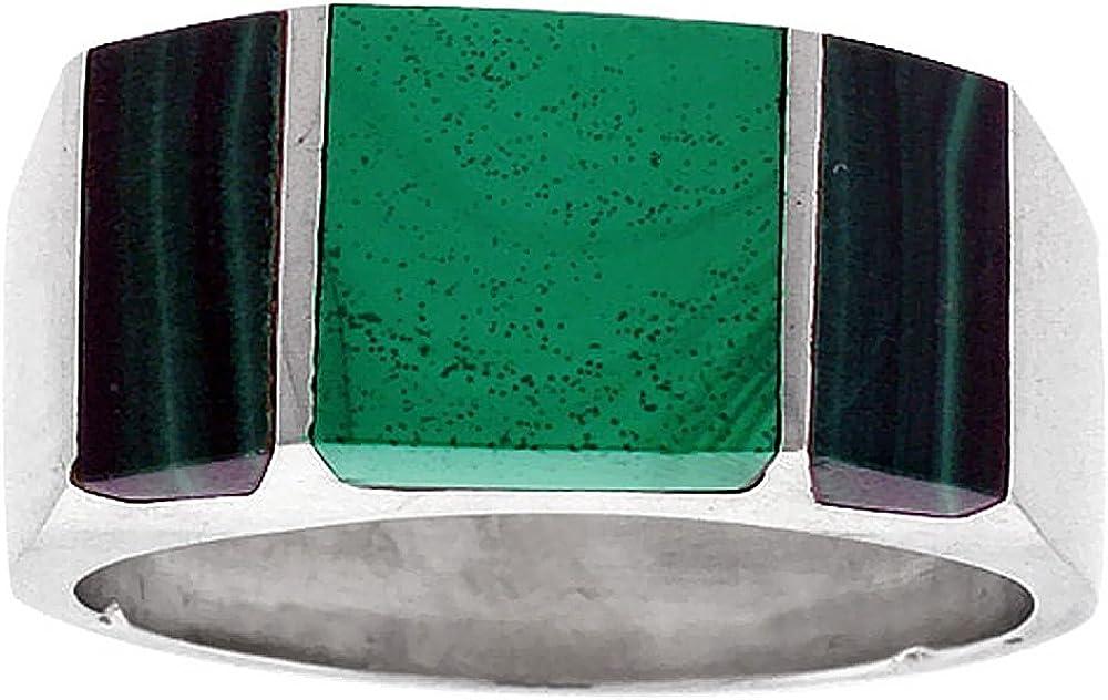 Sizes 9-13 Sterling Silver Malachite Ring for Men Rectangular Striped Solid Back Handmade