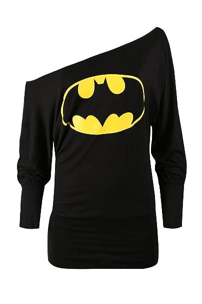 6a0c7a69f71 Oops Outlet Women s Superman Batman Comic Hero Batwing Off Shoulder Slouch  Top Plus Size (US