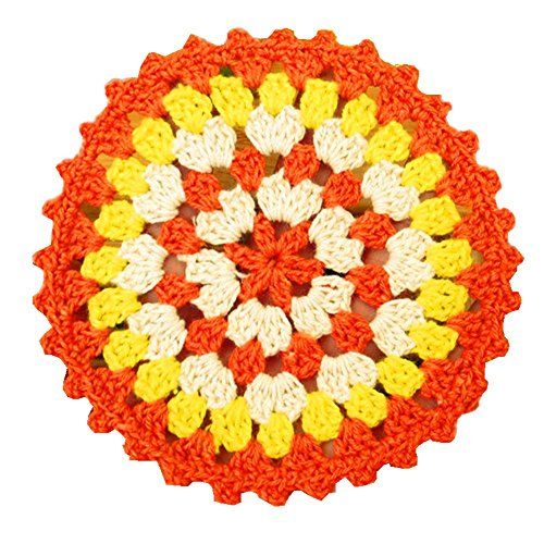 YoumeHome Round Hand Crocheted Doily Coaster Brightly Rainbow Colored Vintage 4.3 inches (Pack of 4) (Orange ()