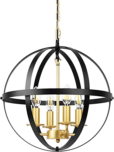 Lika 4-Light Chandeliers 15.8 Rustic Farmhouse Pendant Light with Industrial Metal Spherical Shade for Kitchen Island, Dining Room, Farmhouse, Foyer Gold