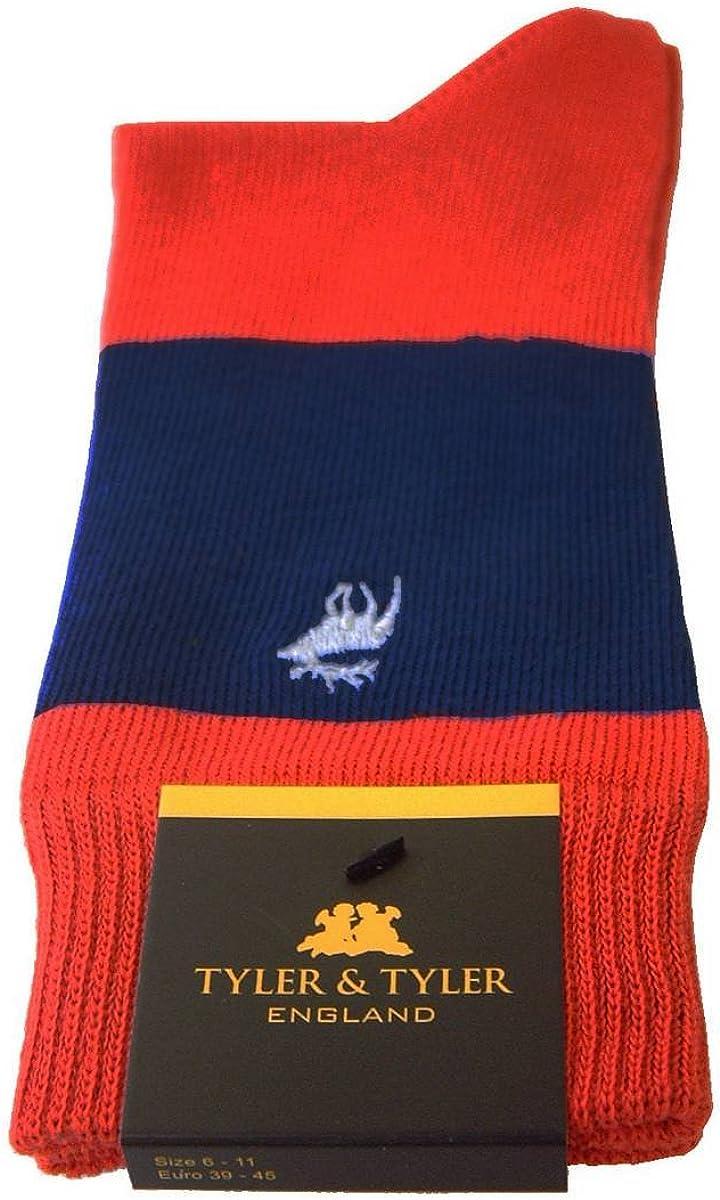 Tyler and Tyler Mens Single Stripe Socks Red//Navy