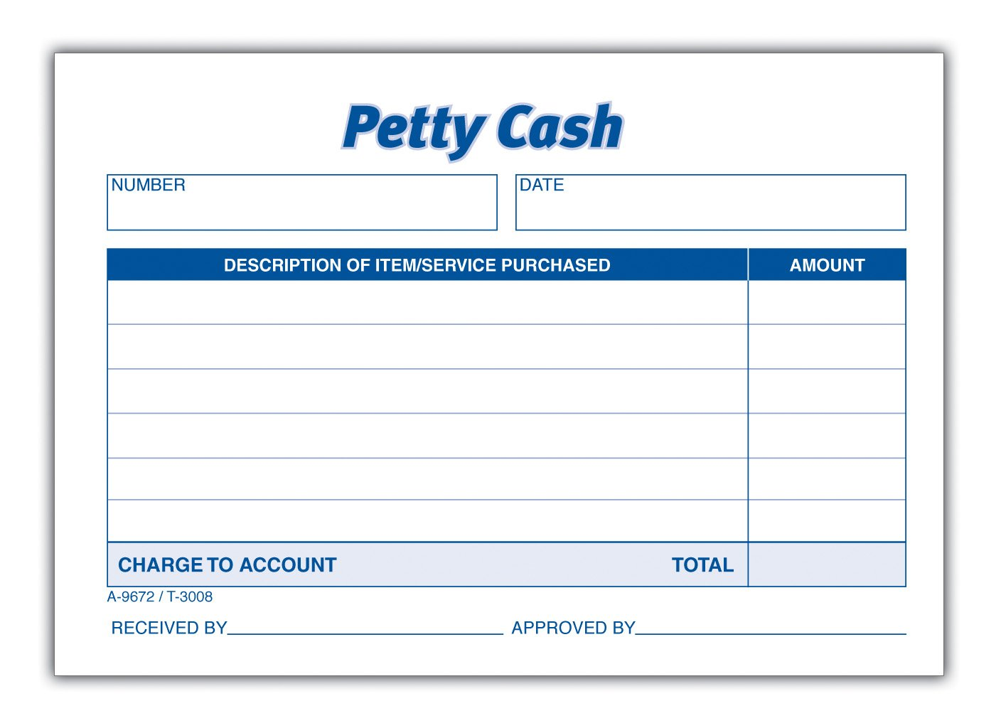 Amazon TOPS 3008 Received of Petty Cash Slips 3 12 x 5 50 – Petty Cash Form Template