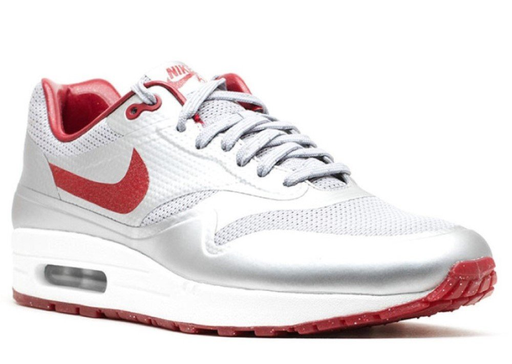 Nike Air Max 1 HYP QS Mens Running Shoes 633087-006 Metallic Silver Deep Red-Sail 10.5 M US