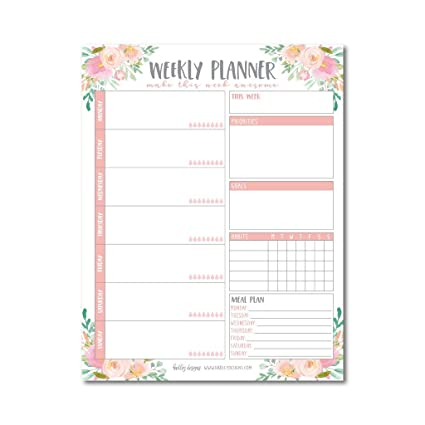 graphic about Cute Weekly Planners named Purple Floral Undated Weekly Loved ones Calendar Planner Pad, Mother Every month towards Do Checklist Table Paper Notepad, 7 days Working day Weekend Organizer, Person Reason Practice