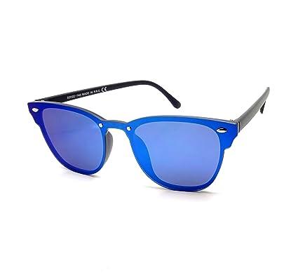 Lunettes Soleil CLUBMASTER Flashy Blaze Miroir Homme Femme Plats Rétro  Vintage (Bleu)  Amazon.fr  Vêtements et accessoires d6f445798c74