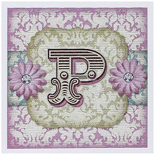 3dRose Regal Pastel Mod Damask Monogram Initial P - Greeting Cards, 6 x 6 inches, set of 12 (gc_102848_2) Damask Monogram Wedding Invitation