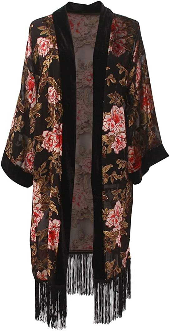 Women's Long Burnout Velvet Sleeves Kimono Cardigan with Fringe