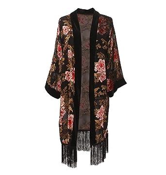 77026bada Women's Long Velvet Burnout Kimono Cardigan - Elegant Floral Casual Coverup  With Fringe Stylish Maxi Summer