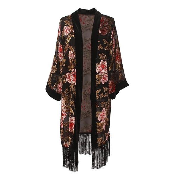 Amazon.com: Kimono de manga larga de terciopelo con flecos ...