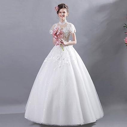 Amazon.com: MOMO Wedding dress bride French style wind beauty Spring ...