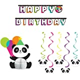 Panda-Monium Party Decorations Supplies Pack Includes: Centerpiece, Jointed Banner, and Dizzy Danglers