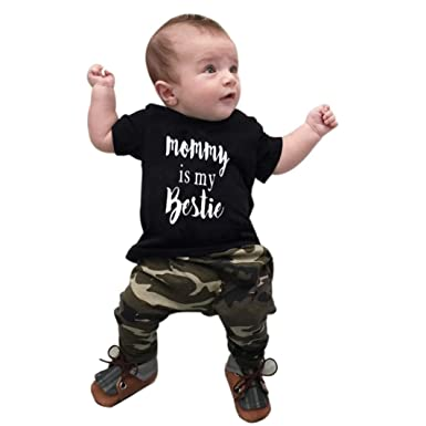 3f022a5c1db IGEMY Toddler Kids Baby Boys Outfit Clothes Print T-shirt+Camouflage Long  Pants 1Set  Amazon.co.uk  Clothing
