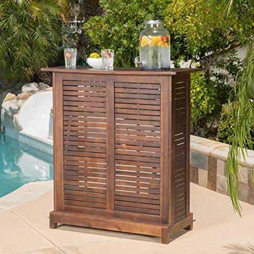 Acacia Wood Bar - GDF Studio Jalama Outdoor Patio Furniture Rich Mahogany Acacia Wood Bar