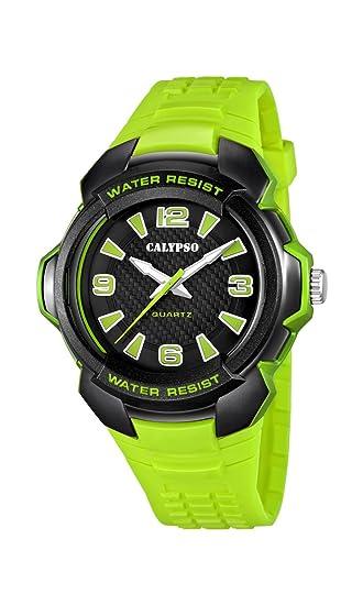 Calypso K5635 - Reloj de Cuarzo para Hombre, Correa de plástico Color Verde: Amazon.es: Relojes