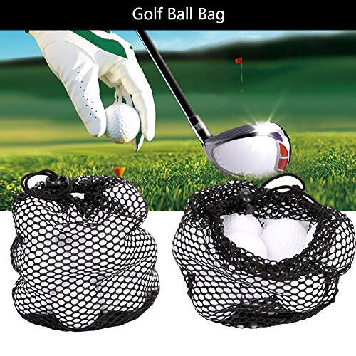 T-best 3 Size Nylon Mesh Drawstring Pouch Golf Balls Holder Storage Bag Black(S)