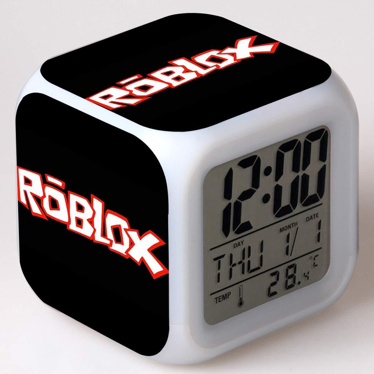 Alarm Clock Despertador Digital para El Tema Roblox, Despertador De Luz Nocturna De 7 Colores, con Fecha Electrónica Pantalla De Temperatura Niños