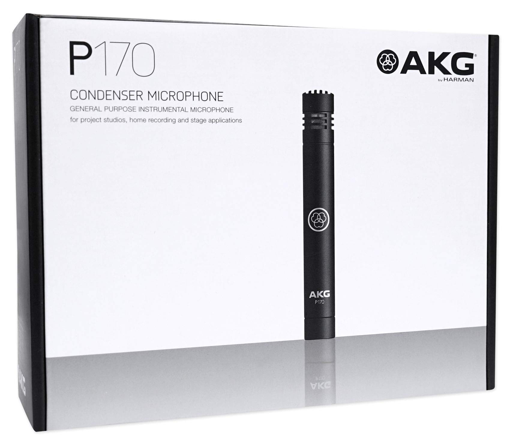 (2) AKG P170 Studio Condenser Pencil Microphones Instrument Drum Mics+Headphones