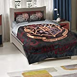 3 Piece Girls Black Silver Harry Potter School Motto Hogwarts Logo Comforter Twin Full Set, Golden Red Fantasy Movie Characters Pattern Kids Bedding, Traditional Magical Movies Themed Teen, Polyester