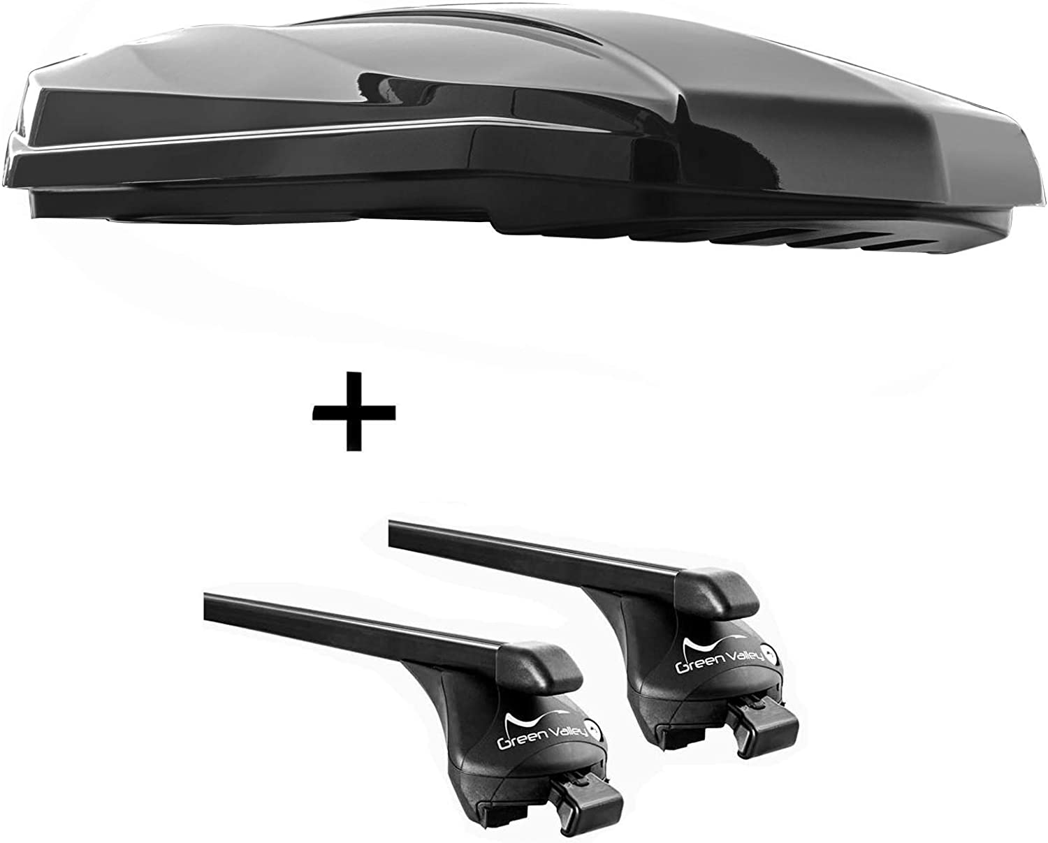 Roof Rack Rails Quick Steel L Compatible with Volvo V60 Cross Country 2015-2018 Roof Box Strike 440 Litres Black High Gloss