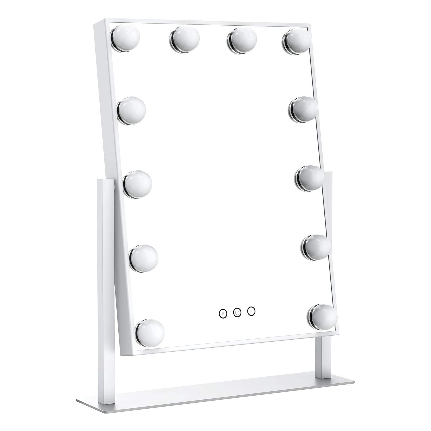 Ovonni Lighted Vanity Makeup Hollywood Mirror, Dimmable Tabletop Cosmetic Mirror with LED Bulbs, Touch Control and Plug Powered (12 Blubs, White)