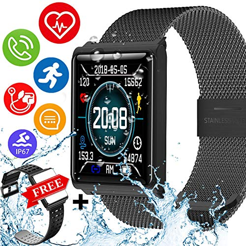 IP67 Waterproof Fitness Tracker Smartwatch with FREE Replaceable Band Swimming Heart Rate Blood Pressure Sleep Monitor GPS Activity Tracker Pedometer Color Screen Outdoor Sport Bracelet for Men Women