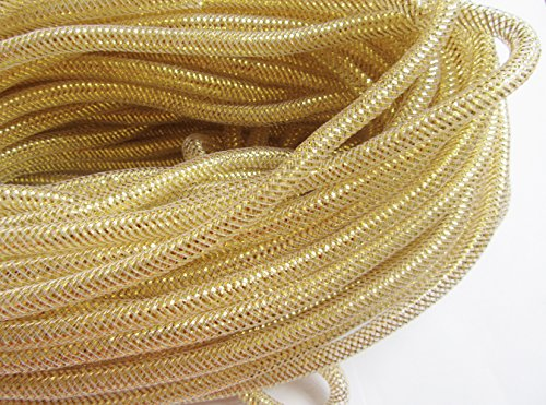 YYCRAFT 15 Yards Solid Mesh Tube Deco Flex for Wreaths Cyberlox Crin Crafts 8mm 3/8-Inch (Gold) (Gold Tubing)