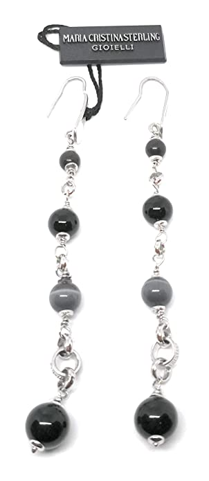 106f02a97 silver pendant earrings with onyx, amino lanyard about 10cm long: Amazon.co.uk:  Jewellery