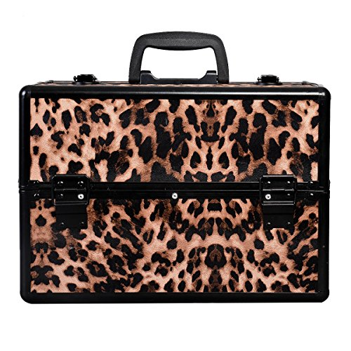 Makeup Train Case Jewelry Box Cosmetic Organizer Aluminum Crocodile - 2 Door Painted Armoire