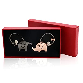 Gcroet 2 Piezas Llavero Pareja Set Kissing Elefante Llaveros Precioso Colgante Llavero para Las Mujeres De Los Hombres De La Decoraci/óN del Bolso Rosa + Negro