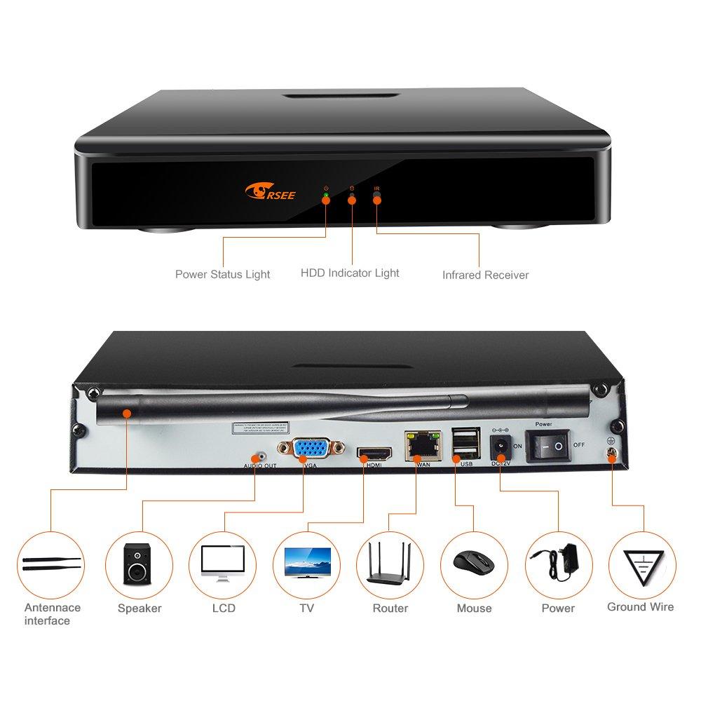 CORSEE H.265+ 8 Canales 1080P Kit Camaras Vigilancia WiFi con 8 1080P Cámaras de Seguridad Visión Nocturna al Aire Libre CCTV Cámaras, Disco Duro De 2TB ...