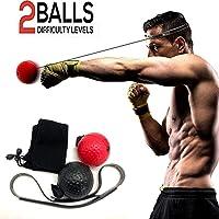 2 Pelotas de Pelota de Boxeo, Sendowtek Pelotas de Reflejo / Reflex Ball Ideal para Reflejos, Sincronización, Precisión, Enfoque y Coordinación de Mano Ojo, Entrenamiento para Boxeo (2 Bolas Sificientes, 2 Niveles de Dificultad)