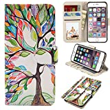 iPhone 6s Case, iPhone 6 Case, UrSpeedtekLive Premium PU Leather Funny Pattern Flip Wallet Case Cover w/Card Slots & Stand Compatible iPhone 6/6s 4.7 Inch, Love Tree