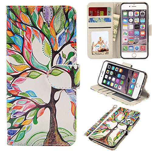 iPhone 6s Case, iPhone 6 Case, UrSpeedtekLive Premium PU Leather Funny Pattern Flip Wallet Case Cover with Card Slots & Stand for iPhone 6/6s 4.7 Inch, Love tree