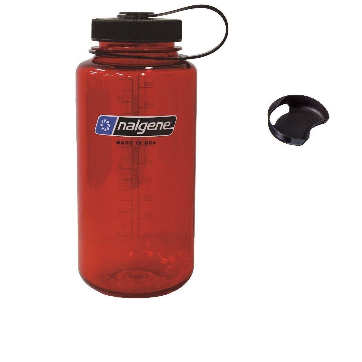 Bike A Mile Nalgene Tritan 32oz Wide Mouth BPA-Free Water Bottle Including A Removable SplashGuard (Red w/Black Cap, 32-Ounces)