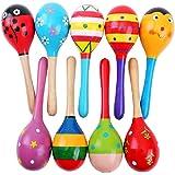 Agooding Mini Wooden Ball Musical Instruments Maracas Set of 4