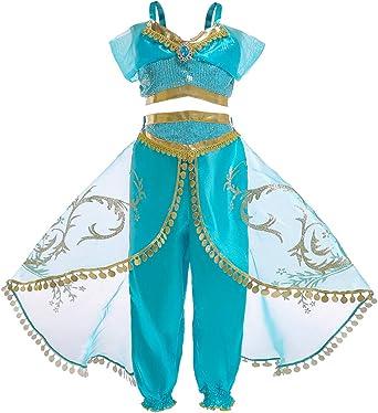 Oferta amazon: Jurebecia Disfraz de Princesa para Niña Jasmine Vestidos de Fiesta Top con Lentejuelas Conjunto de Pantalones Niña Sling Tops Pantalones Largos Trajes de Borla de Tul Cosplay con Cetro y Corona. Talla 11-12 años