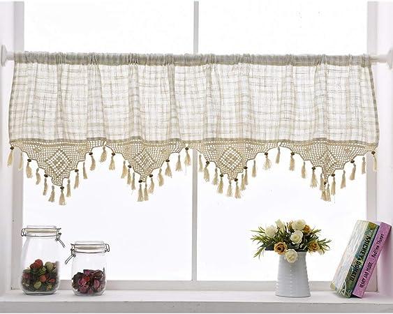 choicehot - Visillo de lino, estilo rústico, retro, algodón, multicolor, hecho a mano, cortina de bistro romántico, ganchillo, borla de cocina, decoración, 60 x 150 cm, 1 unidad: Amazon.es: Hogar