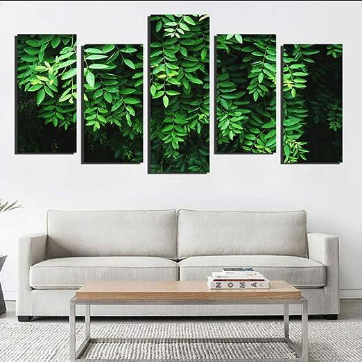 hhlwl HD Prints Peintures Mur Art 5 Pièces Vert Plantes ...