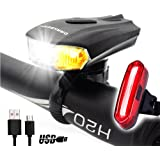 DARKBEAM USB Bike Light Set LED Rechargeable Bicycle Headlight Tail Lights Front and Back Waterproof Super Bright Sensing Rear Lights Easy to Install for Kids Road Safety Cycling