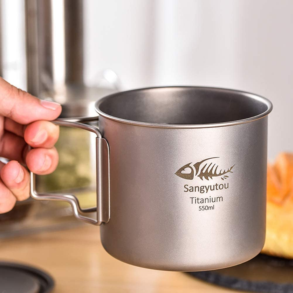 Breeezie Outdoor Titanium Cup Mug Pots Portable Cup Mug Camping Picnic Water Cup Vaisselle Coffee Tea Pot 300//350//420//550//650//750 Anti-corrosion