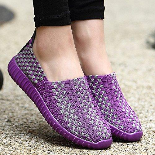 35 Zapatos Top House Mujeres Peggie Tamaño Morado estiramiento Low 44 Elasticated Zapatillas 1gqACT