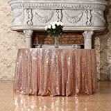 3E Home 90-Inch Round Sequin TableCloth for Party Cake Dessert Table Exhibition Events, Rose Gold