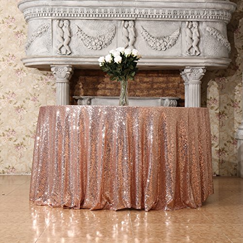 3E Home 90-Inch Round Sequin TableCloth for Party Cake Dessert Table Exhibition Events, Rose - Rose Round
