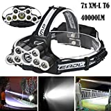 Handyulong LED Headlamp 7X XM-L T6 40000LM Super Bright Travel Head Torch with LED Rechargeable Waterproof Headlight for Camping, Running, Hiking (Battery Not Included)