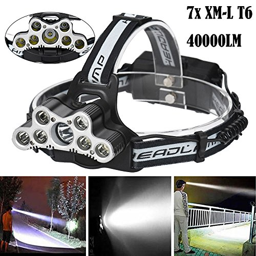Handyulong LED Headlamp 7X XM-L T6 40000LM Super Bright Travel Head Torch with LED Rechargeable Waterproof Headlight for Camping, Running, Hiking (Battery Not Included) by Handyulong