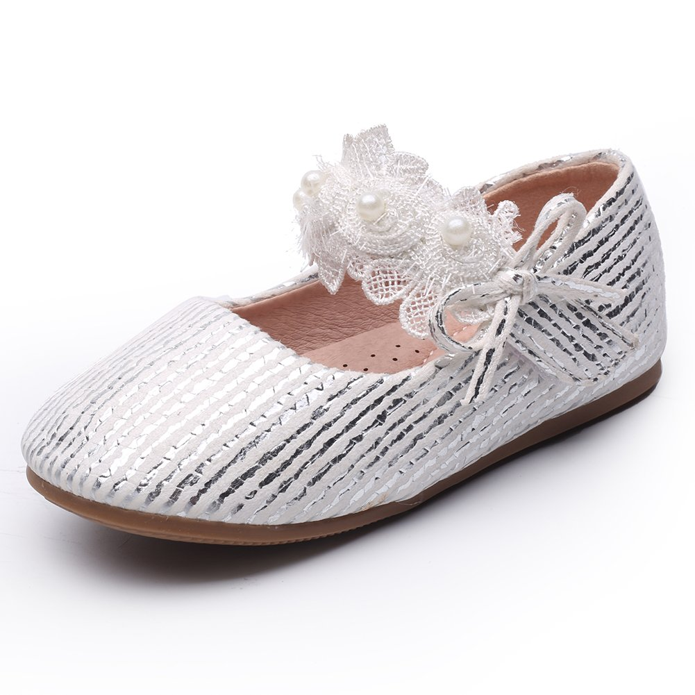 Chiximaxu Maxu Little Girl's Silver Outdoor Marry Jane Flats,Toddler 6.5M