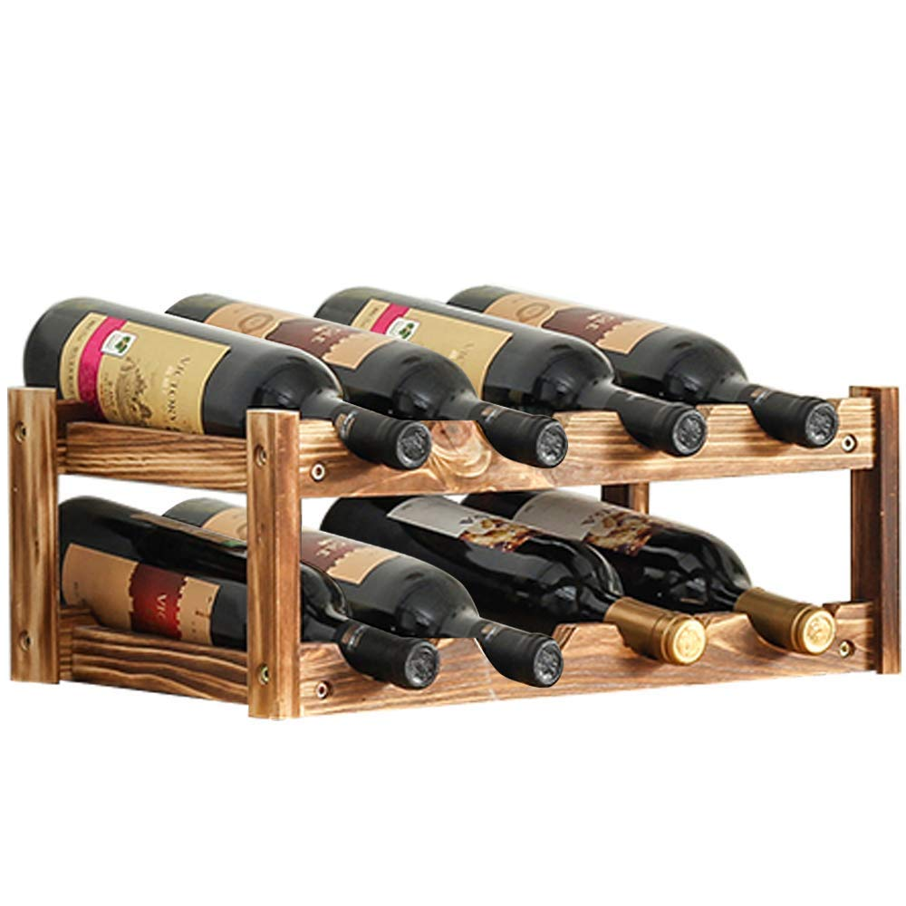 Aobosi 8-Bottle Built-in Wine Cellar Rack,Retro Style,2-Tier Nature Wooden Wine Cooler Bottles Storage Shelf for Kitchen Countertops, Pantry, Fridge,Tabletop |Free Standing and Stackable