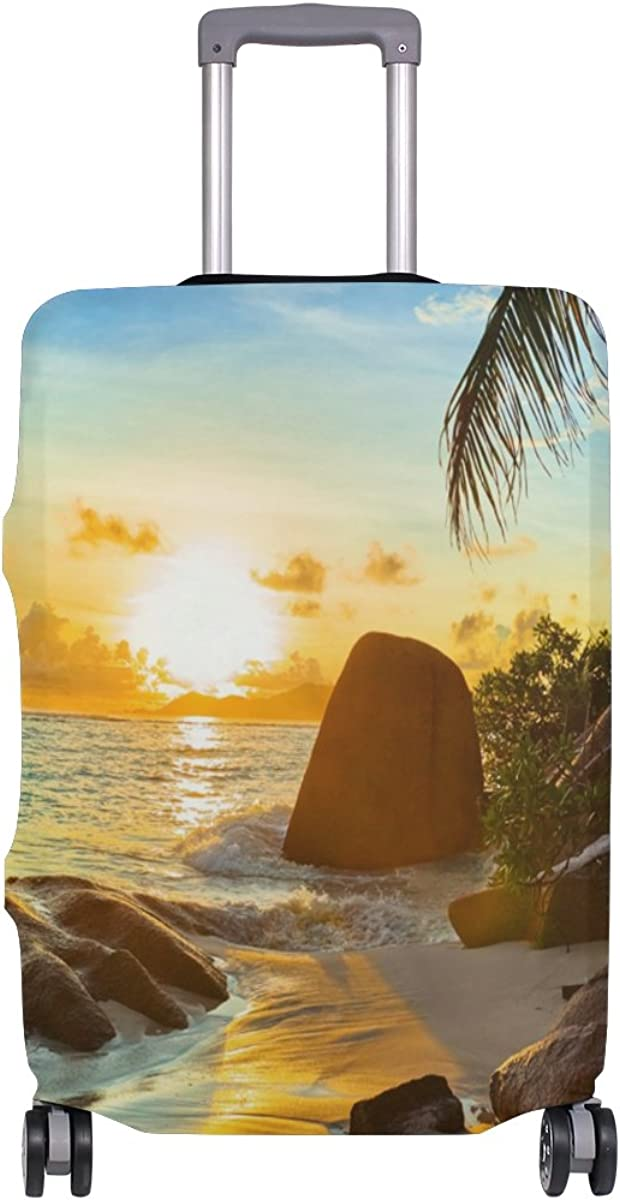 Beach At Sunset Travel Luggage Cover Stretchable Pulling Cloth Suitcase Protector Fits 18-20 Inches Luggage