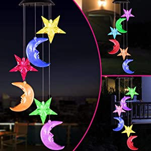 Color Changing Stars and Moon Solar Wind Chimes Lights Portable Waterproof Mobile Romantic Windchime LED Solar Star and Moon Wind Chime Gifts for Mom, Festival, Patio, Garden, Outdoor Decor(Black lid)
