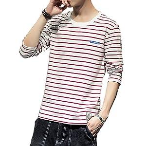 Tシャツ 長袖 メンズ ストライプ カットソー ファッション カジュアル ストライプTシャツ 柔らかい 細身 タイト Tシャツ 快適 春夏秋 红3XL